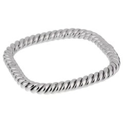 Van Cleef and Arpels Braided White Gold Bangle Bracelet