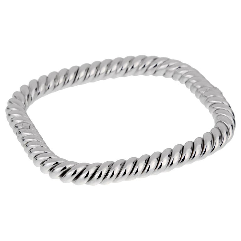 Van Cleef and Arpels Braided White Gold Bangle Bracelet For Sale