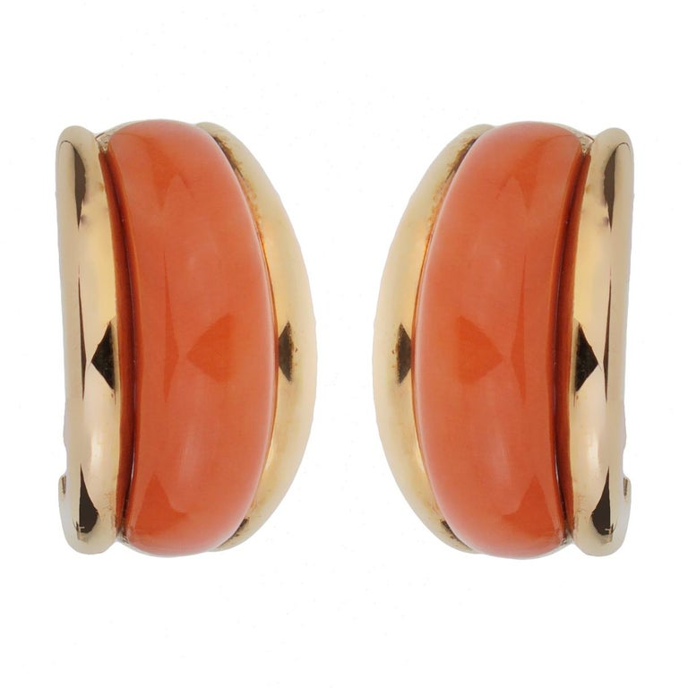 Women's Van Cleef and Arpels  Coral Yellow Gold Hoop Earrings For Sale