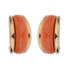 Van Cleef and Arpels  Coral Yellow Gold Hoop Earrings