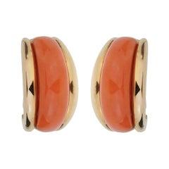 Van Cleef and Arpels  Coral Yellow Gold Hoop Earrings