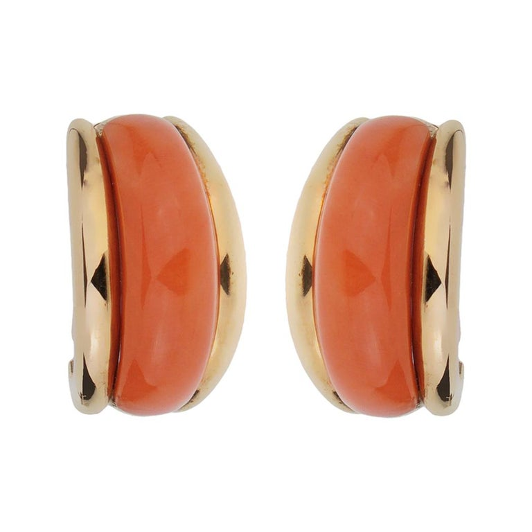 Van Cleef and Arpels  Coral Yellow Gold Hoop Earrings For Sale