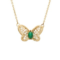 Van Cleef & Arpels Diamond and Emerald Butterfly Pendant Necklace, 1980s