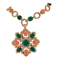 "Van Cleef and Arpels Gold, Coral and Chrysoprase ""Delphe"" Sautoir"