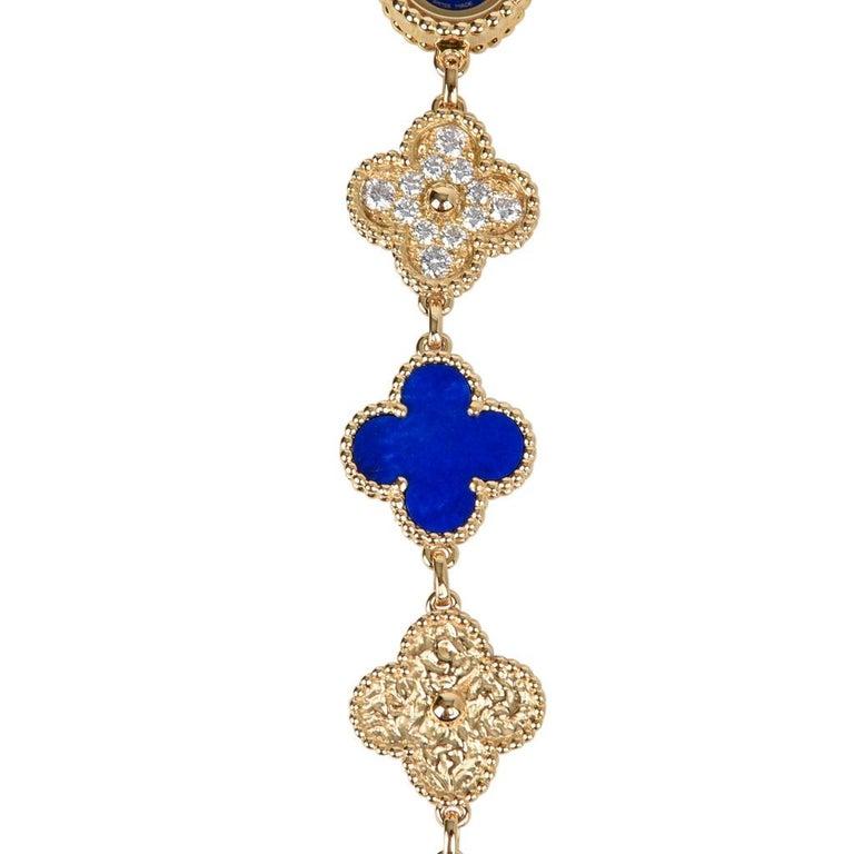 Van Cleef & Arpels Lapis Lazuli / Diamond Sweet Alhambra Watch 18 Karat Limited For Sale 5