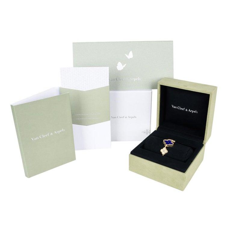 Van Cleef & Arpels Lapis Lazuli / Diamond Sweet Alhambra Watch 18 Karat Limited For Sale 6
