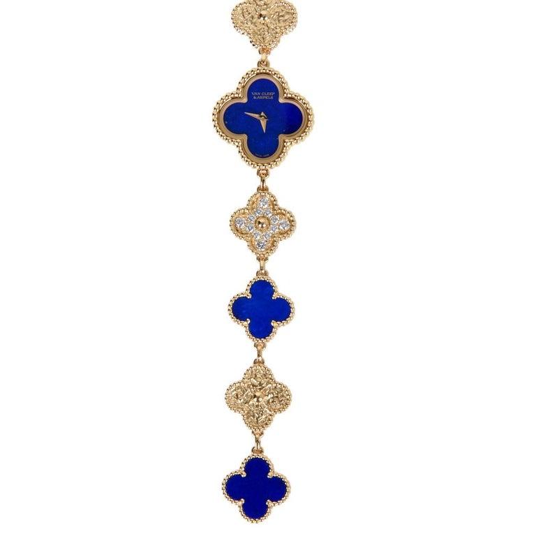 Van Cleef & Arpels Lapis Lazuli / Diamond Sweet Alhambra Watch 18 Karat Limited For Sale 7