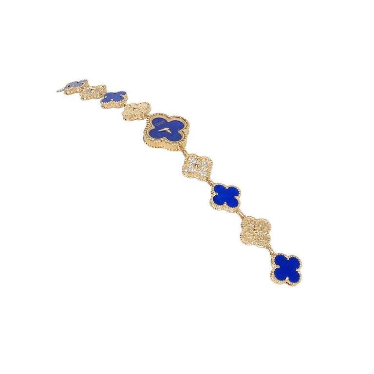 Van Cleef & Arpels Lapis Lazuli / Diamond Sweet Alhambra Watch 18 Karat Limited For Sale 8