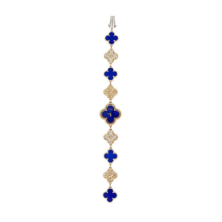 Van Cleef & Arpels Lapis Lazuli / Diamond Sweet Alhambra Watch 18 Karat Limited For Sale 9