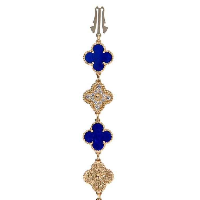 Van Cleef & Arpels Lapis Lazuli / Diamond Sweet Alhambra Watch 18 Karat Limited For Sale 10