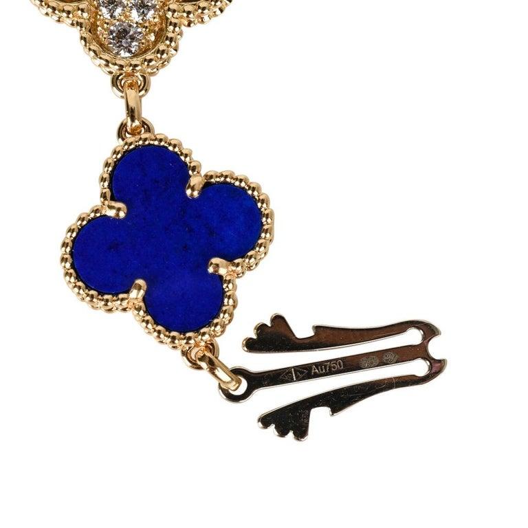 Van Cleef & Arpels Lapis Lazuli / Diamond Sweet Alhambra Watch 18 Karat Limited For Sale 11
