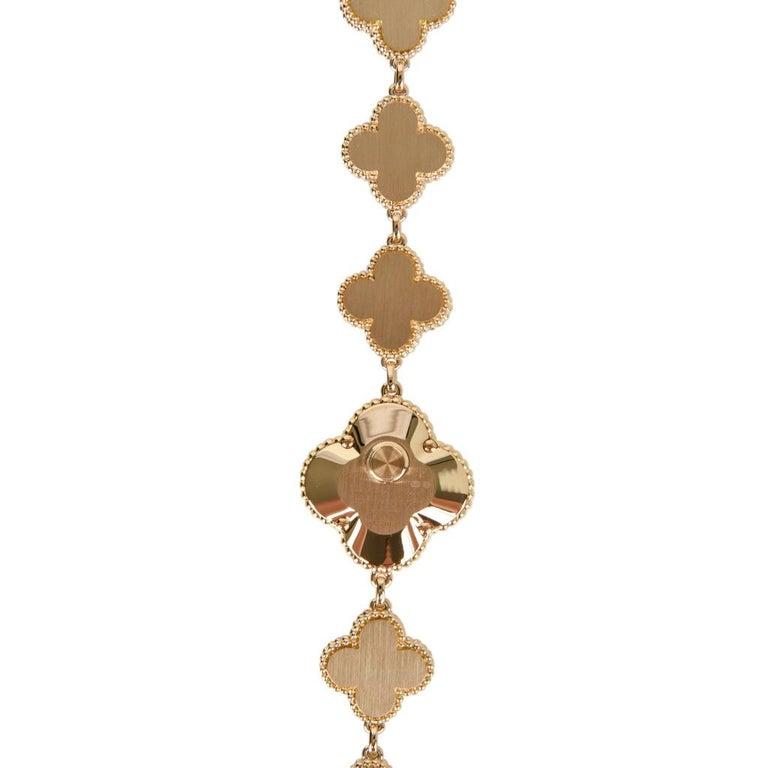 Van Cleef & Arpels Lapis Lazuli / Diamond Sweet Alhambra Watch 18 Karat Limited For Sale 12