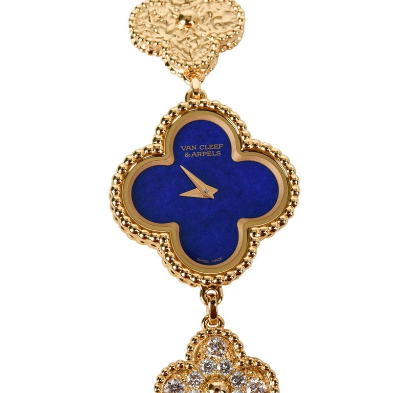 Guaranteed authentic Van Cleef and Arpels limited edition iconic Sweet Alhambra Lapis Lazuli and diamond set ladies wristwatch. Numbered and one of only 100 produced. This elegant quartz watch features 18K yellow gold. Produced in 2018. Comes with