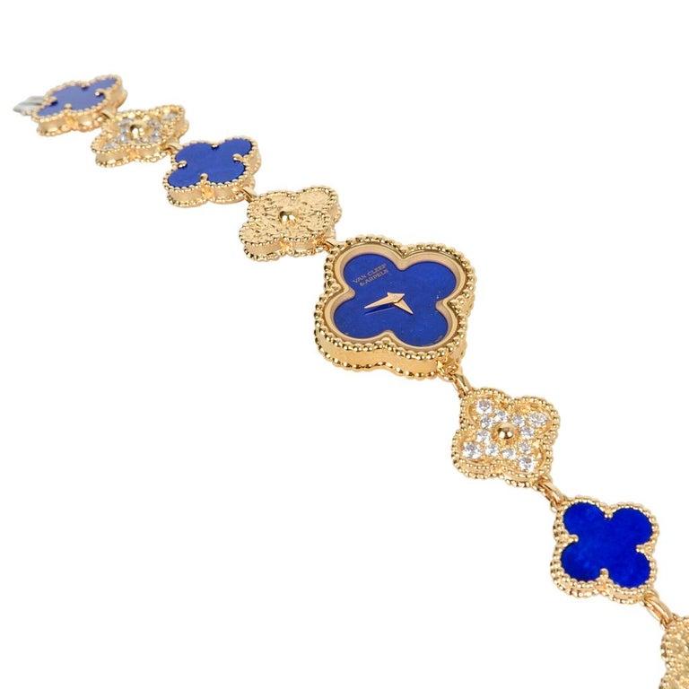 Brilliant Cut Van Cleef & Arpels Lapis Lazuli / Diamond Sweet Alhambra Watch 18 Karat Limited For Sale