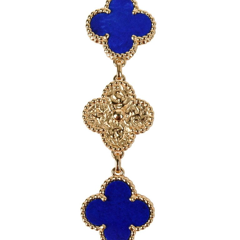 Van Cleef & Arpels Lapis Lazuli / Diamond Sweet Alhambra Watch 18 Karat Limited In New Condition For Sale In Miami, FL