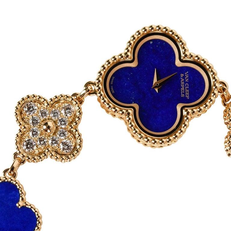 Women's Van Cleef & Arpels Lapis Lazuli / Diamond Sweet Alhambra Watch 18 Karat Limited For Sale