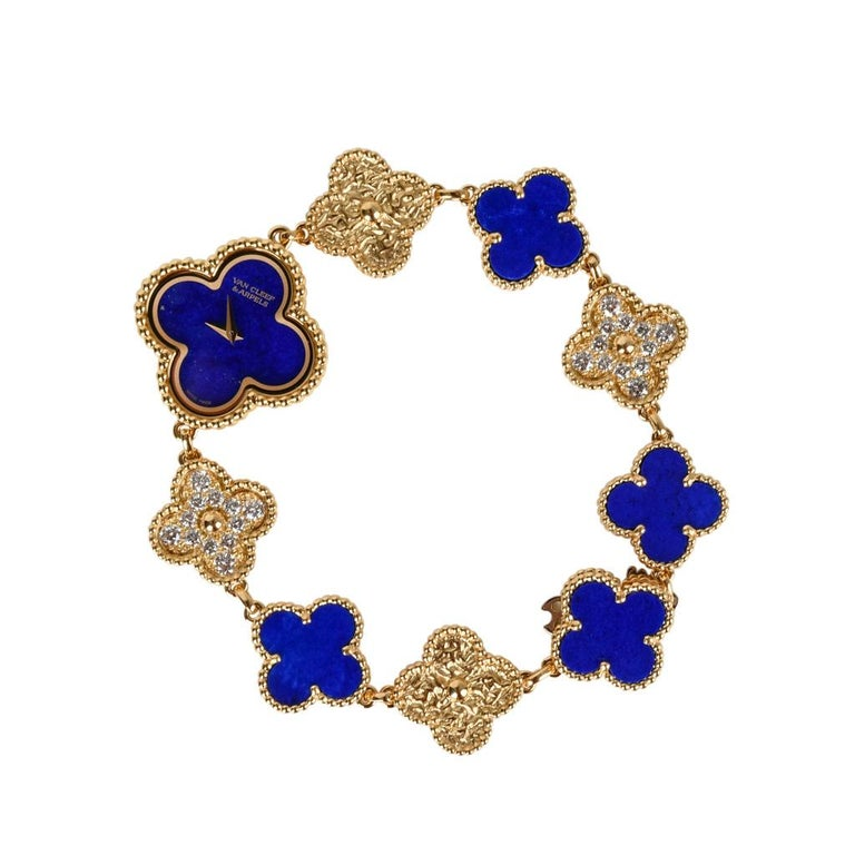 Van Cleef & Arpels Lapis Lazuli / Diamond Sweet Alhambra Watch 18 Karat Limited For Sale 1