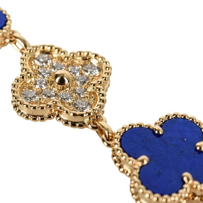 Van Cleef & Arpels Lapis Lazuli / Diamond Sweet Alhambra Watch 18 Karat Limited For Sale 2