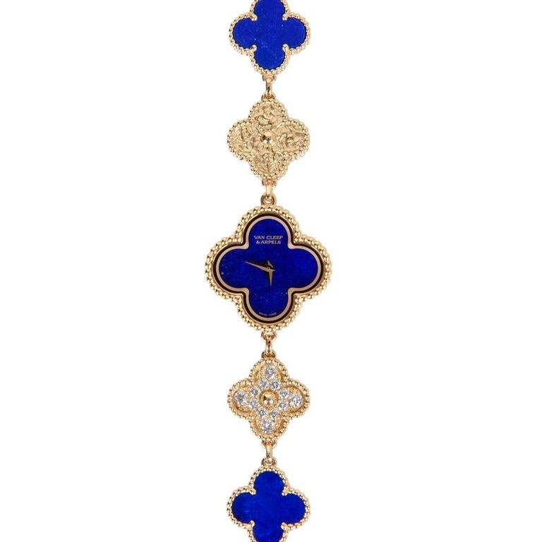Van Cleef & Arpels Lapis Lazuli / Diamond Sweet Alhambra Watch 18 Karat Limited For Sale 3