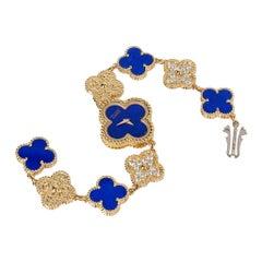 Van Cleef & Arpels Lapis Lazuli and Diamond Alhambra Watch 18 Karat Gold Limited