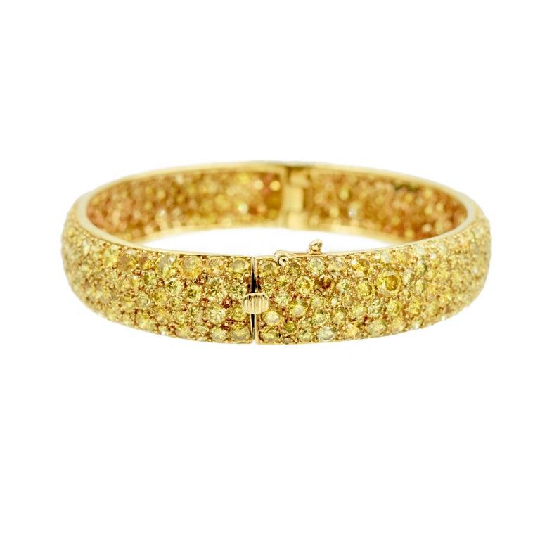 Artist Van Cleef & Arpels Natural Fancy Yellow Diamond Bangle Bracelet, French For Sale