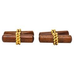 Van Cleef and Arpels New York 18 Karat Gold Wooden Men's Cufflinks