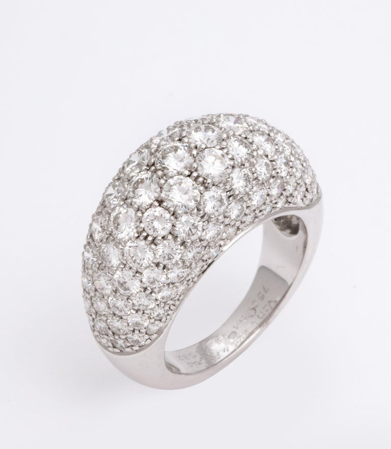 Contemporary Van Cleef & Arpels Platinum Dome Ring with Diamonds For Sale