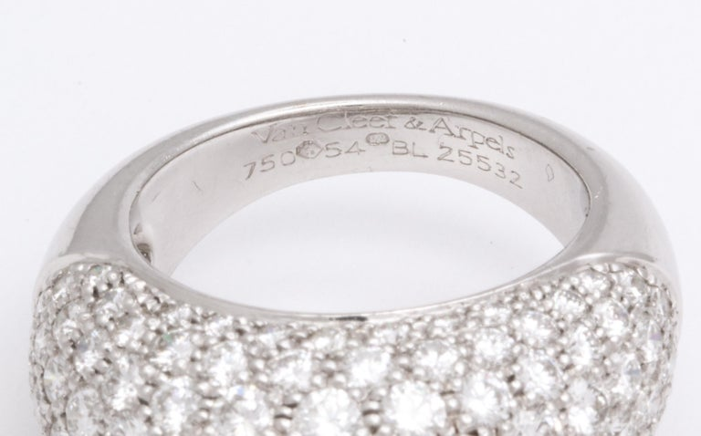 Round Cut Van Cleef & Arpels Platinum Dome Ring with Diamonds For Sale