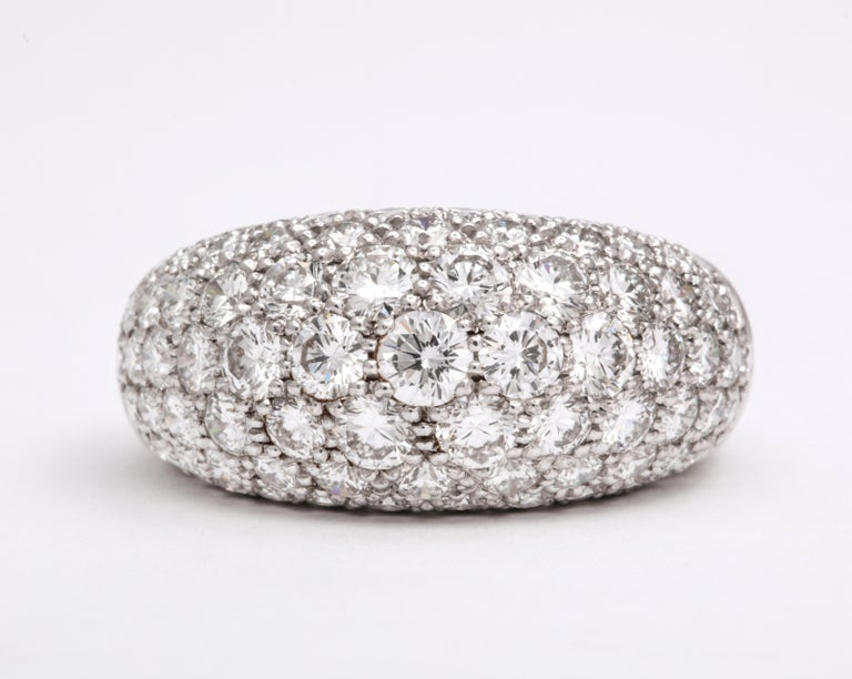 Van Cleef & Arpels Platinum Dome Ring with Diamonds In Good Condition For Sale In New York, NY