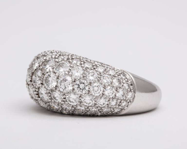 Women's or Men's Van Cleef & Arpels Platinum Dome Ring with Diamonds For Sale