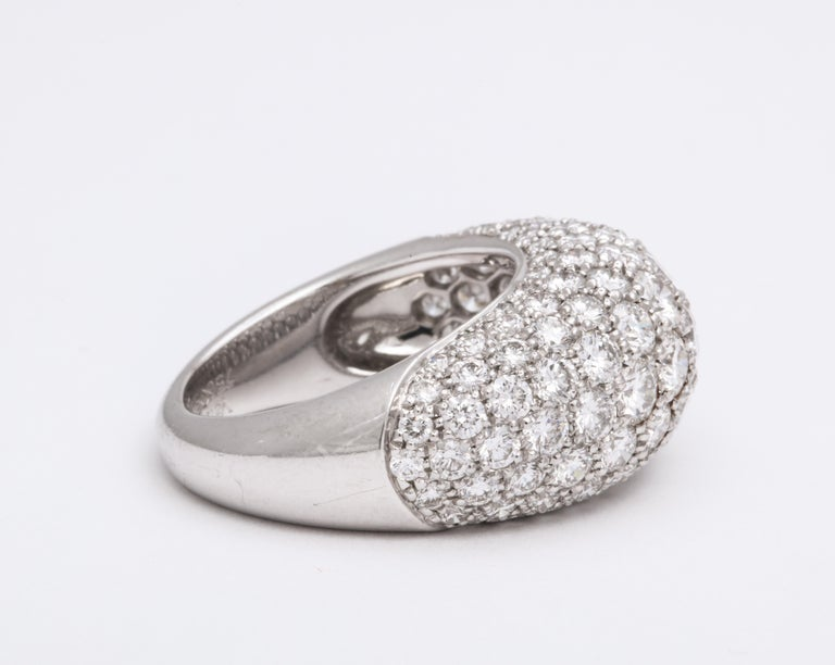 Van Cleef & Arpels Platinum Dome Ring with Diamonds For Sale 1