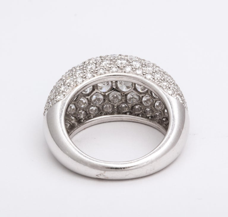 Van Cleef & Arpels Platinum Dome Ring with Diamonds For Sale 2