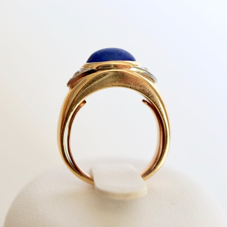Van Cleef & Arpels Ring Yellow Gold and White Gold 18 Karat Lapis Lazuli In Good Condition For Sale In Paris, FR