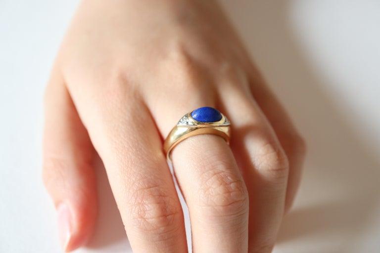 Van Cleef & Arpels Ring Yellow Gold and White Gold 18 Karat Lapis Lazuli For Sale 3
