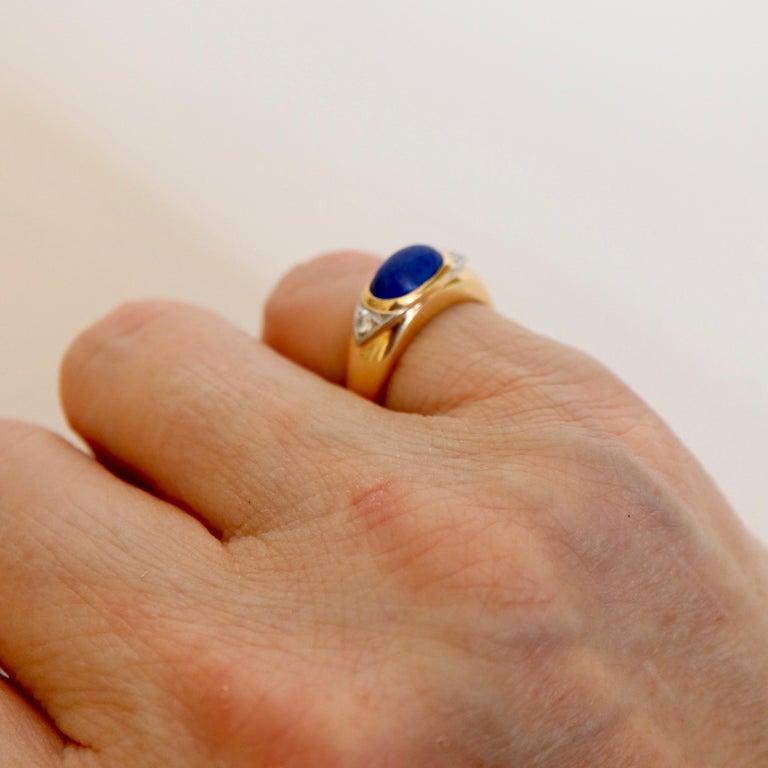 Van Cleef & Arpels Ring Yellow Gold and White Gold 18 Karat Lapis Lazuli For Sale 4