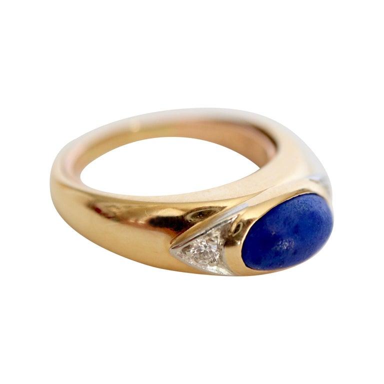 Van Cleef & Arpels Ring Yellow Gold and White Gold 18 Karat Lapis Lazuli For Sale