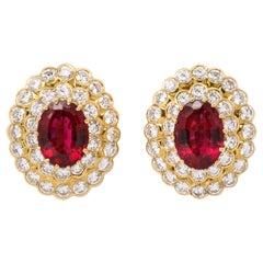 Van Cleef & Arpels Rubelite and Diamond Earrings