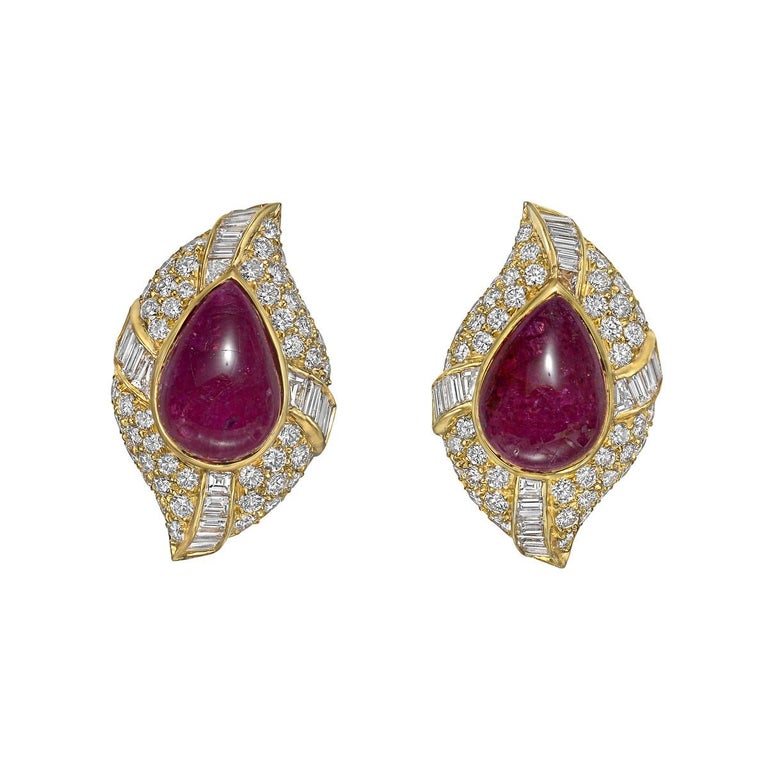 Cabochon Van Cleef & Arpels Ruby and Diamond Cluster Earclips For Sale