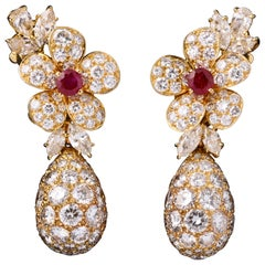 Van Cleef & Arpels Ruby and Diamonds Day and Night Earrings