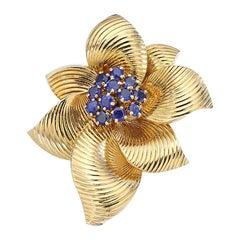 Van Cleef and Arpels Sapphire Gold Flower Brooch