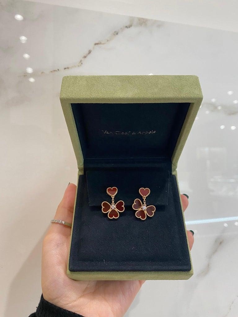 Heart Cut Van Cleef & Arpels Sweet Alhambra Effeuillage Diamond Heart Clover Dangles For Sale