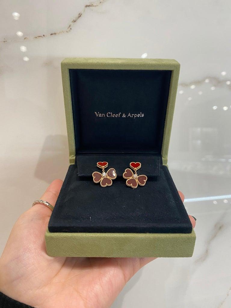 Women's or Men's Van Cleef & Arpels Sweet Alhambra Effeuillage Diamond Heart Clover Dangles For Sale