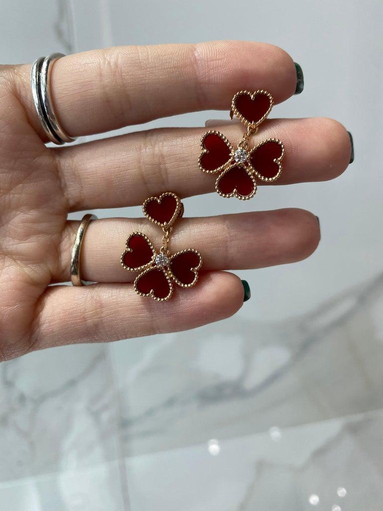Van Cleef & Arpels Sweet Alhambra Effeuillage Diamond Heart Clover Dangles For Sale 1