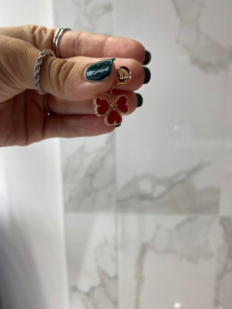Van Cleef & Arpels Sweet Alhambra Effeuillage Diamond Heart Clover Dangles For Sale 2