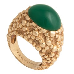 Van Cleef and Arpels Textured 18k Yellow Gold and Chrysoprase Ring