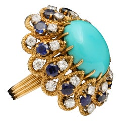 Van Cleef & Arpels Turquoise and Sapphire Cocktail Ring