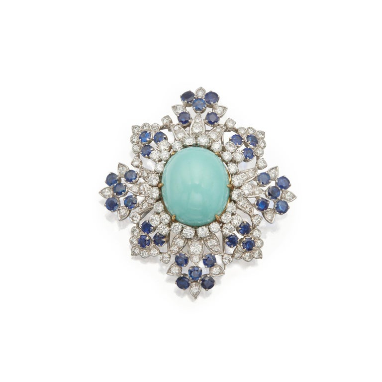 Van Cleef & Arpels Turquoise Sapphire and Diamond Brooch Pendant For Sale 2