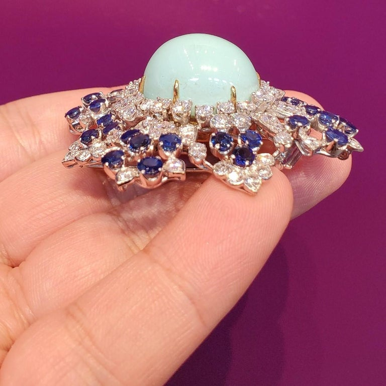 Van Cleef & Arpels Turquoise Sapphire and Diamond Brooch Pendant For Sale 1