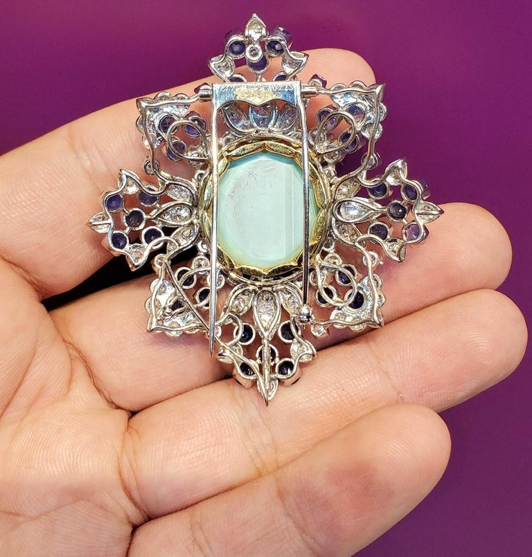 Round Cut Van Cleef & Arpels Turquoise Sapphire and Diamond Brooch Pendant For Sale
