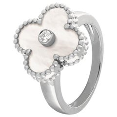 Van Cleef & Arpels Vintage Alhambra Diamond Mother of Pearl Ring